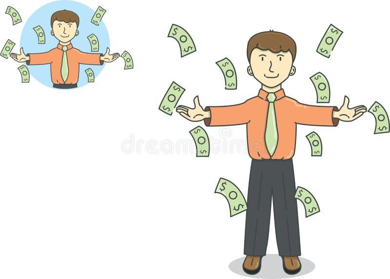 Affärsman under fallande regna pengar royaltyfri illustrationer
