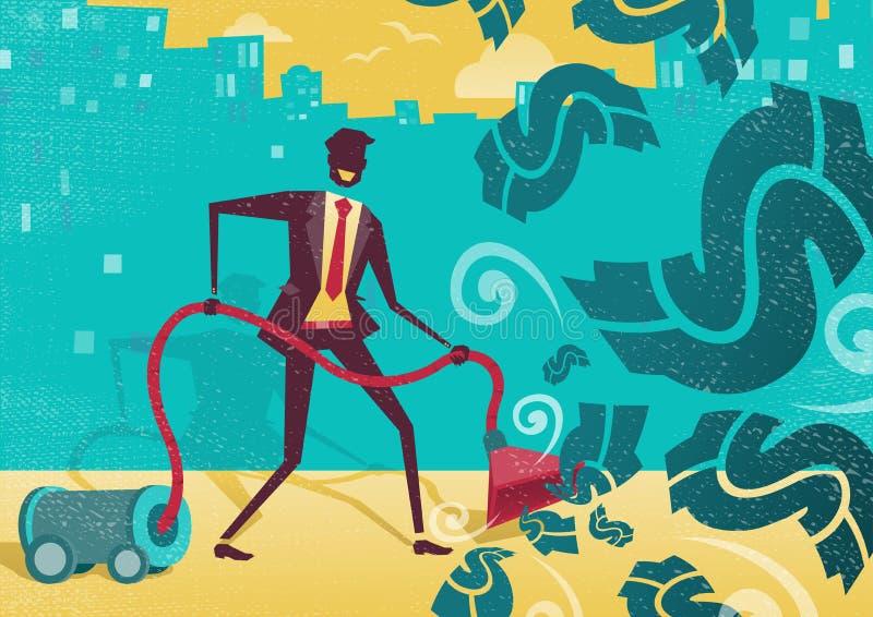 Affärsman Vacuums upp pengarna stock illustrationer