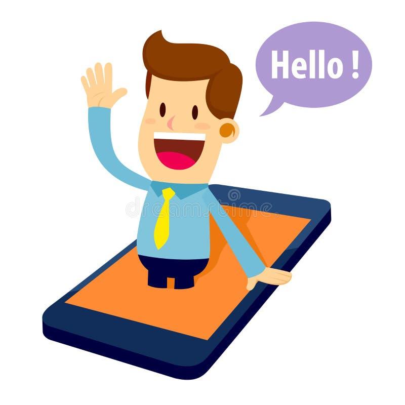 Affärsman Virtual Assistant Coming ut från mobiltelefonen royaltyfri illustrationer