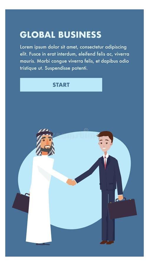 Affärsman Welcome Handshake för illustration två royaltyfri illustrationer