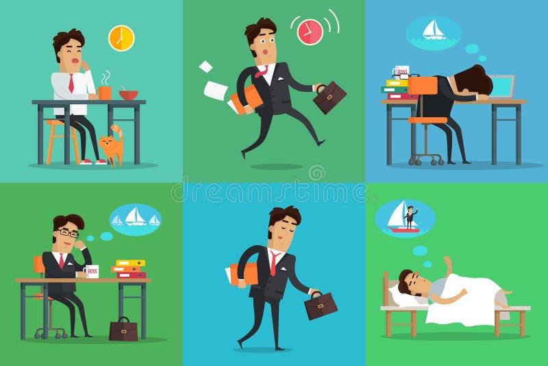 Affärsman Working Day Set royaltyfri illustrationer