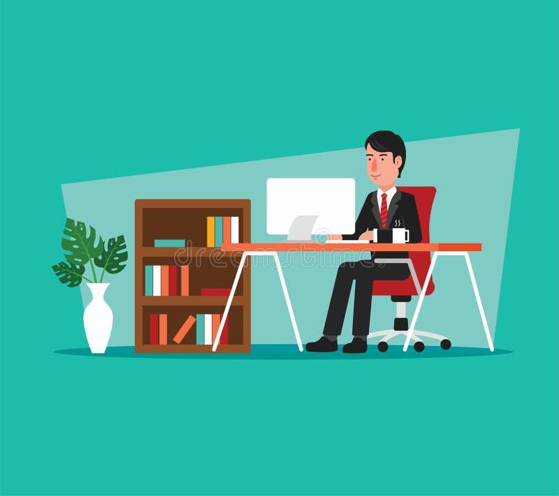 Affärsman Working på datoren i öppet utrymmekontor vektor illustrationer