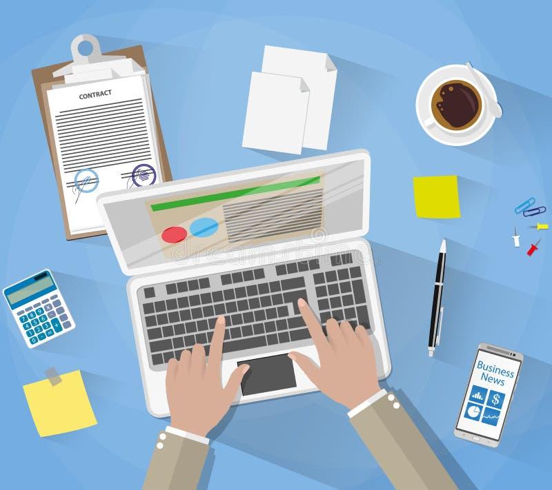 Affärsman Workplace Desk stock illustrationer