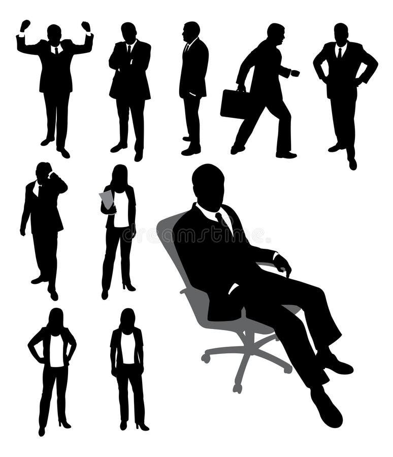 affärsmanaffärskvinnasilhouettes vektor illustrationer