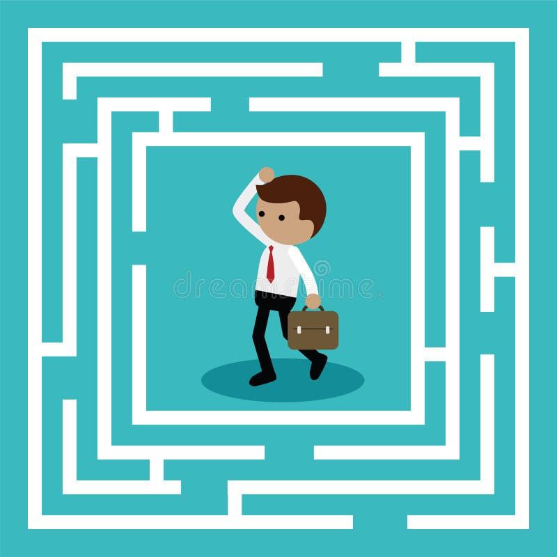 Affärsmananseende i mitten av labyrinten stock illustrationer