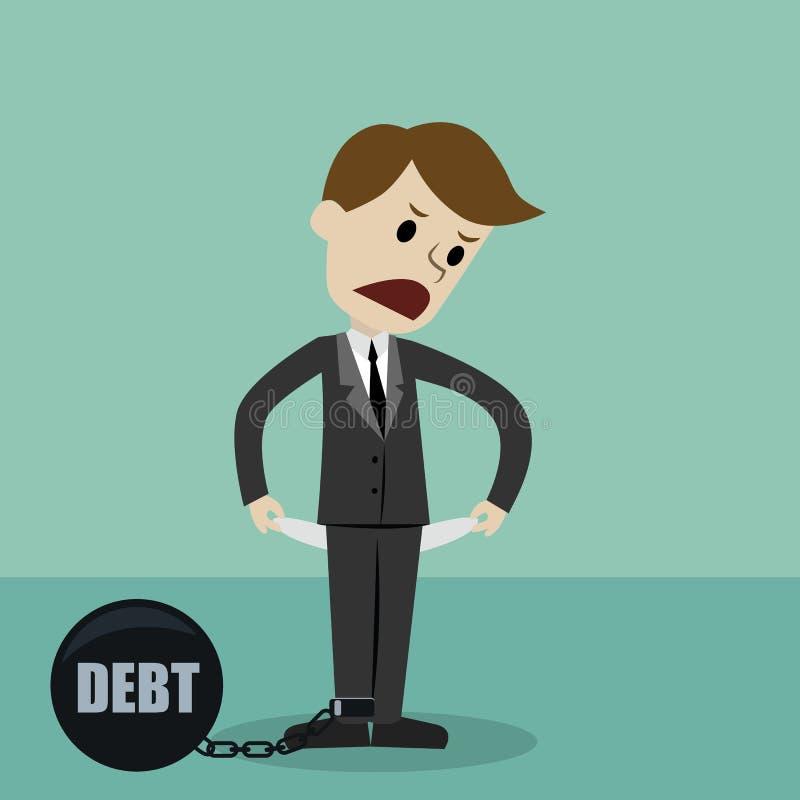 Affärsmananseende och visning hans tomma fack som vänder hans fackinsida - ut, inga pengar på grund av skuld konkurs royaltyfri illustrationer