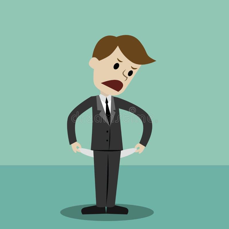 Affärsmananseende och visning hans tomma fack som vänder hans fackinsida - ut, inga pengar konkurs vektor illustrationer