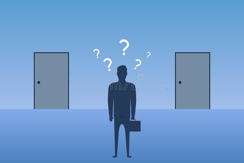 Affärsmananseende som är främst av stängda dörrar och att välja i vilken dörr att skriva in Begrepp av valet den b?sta v?gen i af vektor illustrationer
