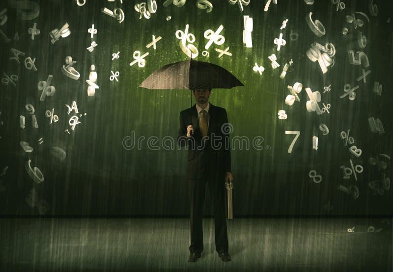Download Affärsmananseendet Med Paraplyet Och 3d Numrerar Att Regna Concep Arkivfoto - Bild av jobb, anfaller: 78732008