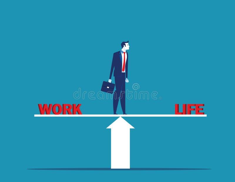 Affärsmananseendet på skala i ord arbetar och liv Illustration f?r begreppsaff?rsvektor royaltyfri illustrationer