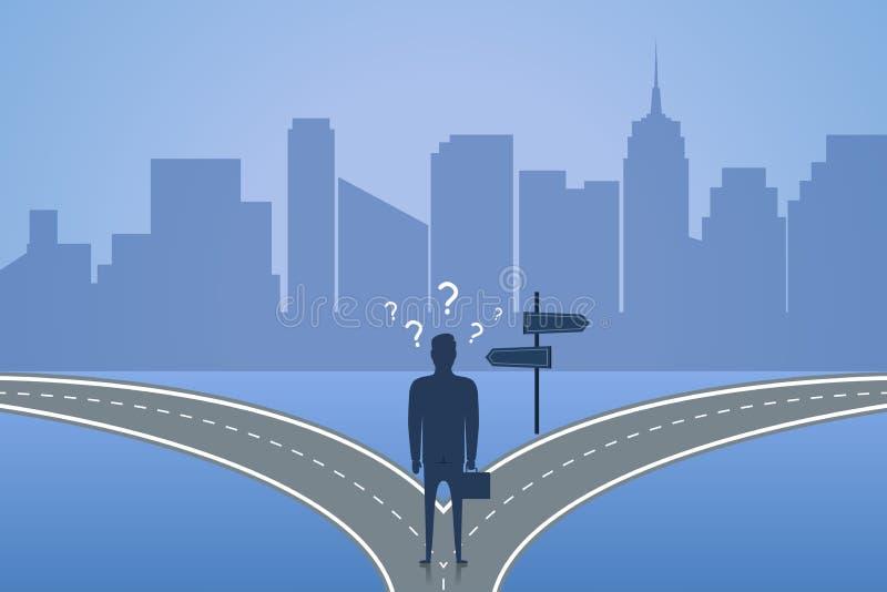 Affärsmananseendet på tvärgatan och väljer vägen Begrepp av valet den bästa lösningen för framtid eller affär vektor royaltyfri illustrationer