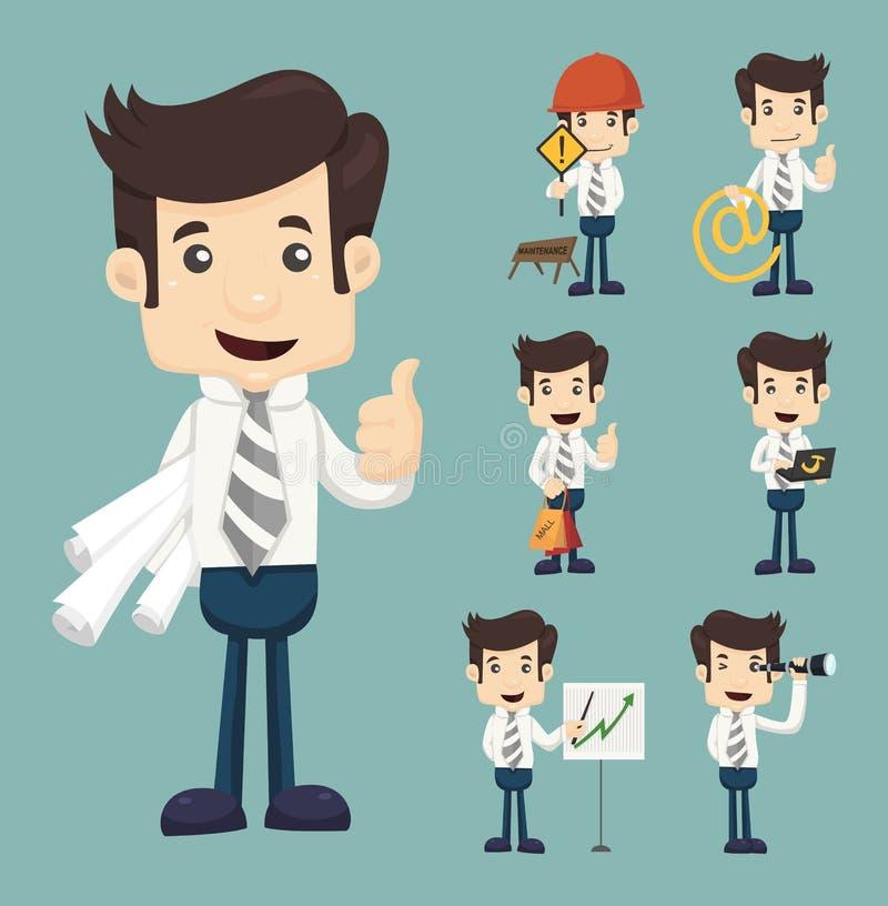 Affärsmanarbete stock illustrationer