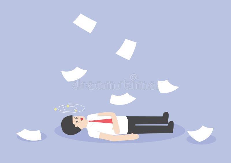 Affärsmanarbete som är hårt och som är medvetslöst på golvet stock illustrationer