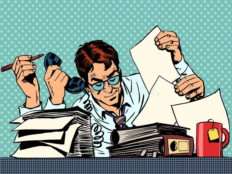 Affärsmanarbetspapper stock illustrationer