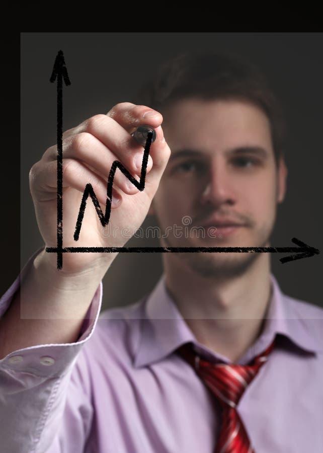 Affärsmanattraktioner på genomskinliga diagram för en skärm. Begrepp - pr royaltyfria foton