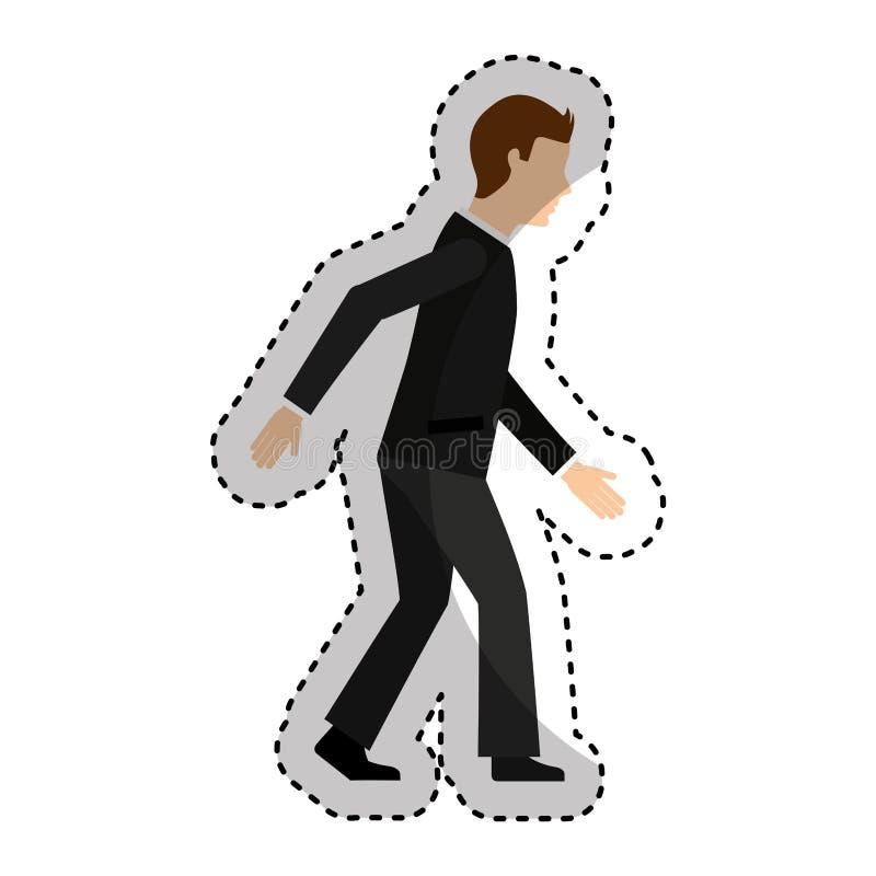 affärsmanavatar som går symbolen stock illustrationer