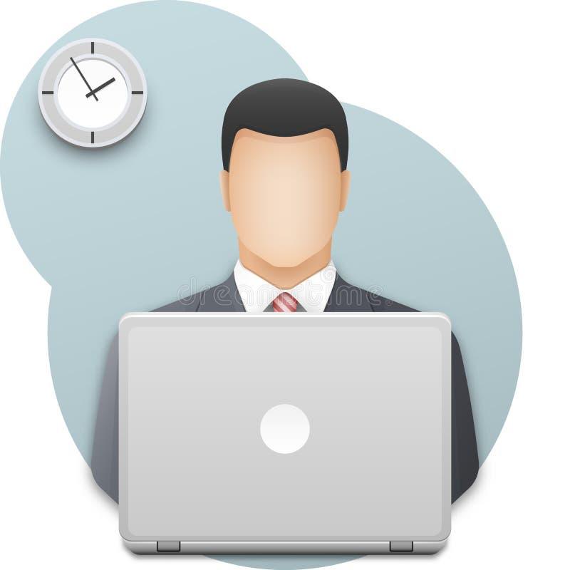 affärsmanbärbar dator Lyckad iklädd grå affärsdräkt för ung man som arbetar på bärbara datorn på väggbakgrund med kontorsklockan stock illustrationer