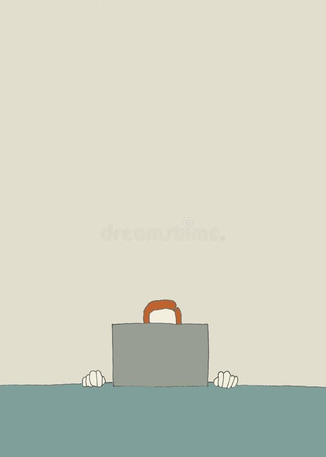 affärsmanbärbar datorworking stock illustrationer