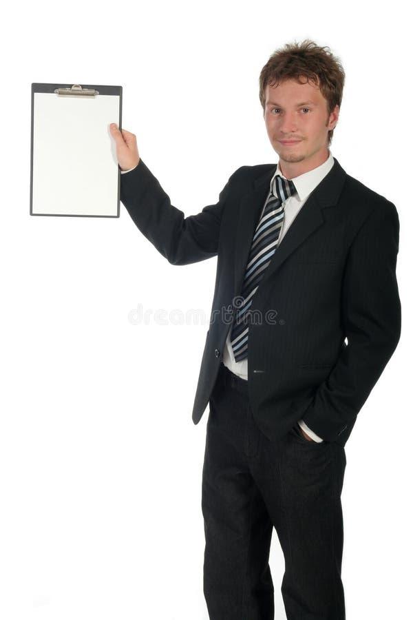 affärsmanclipboardholding arkivbilder