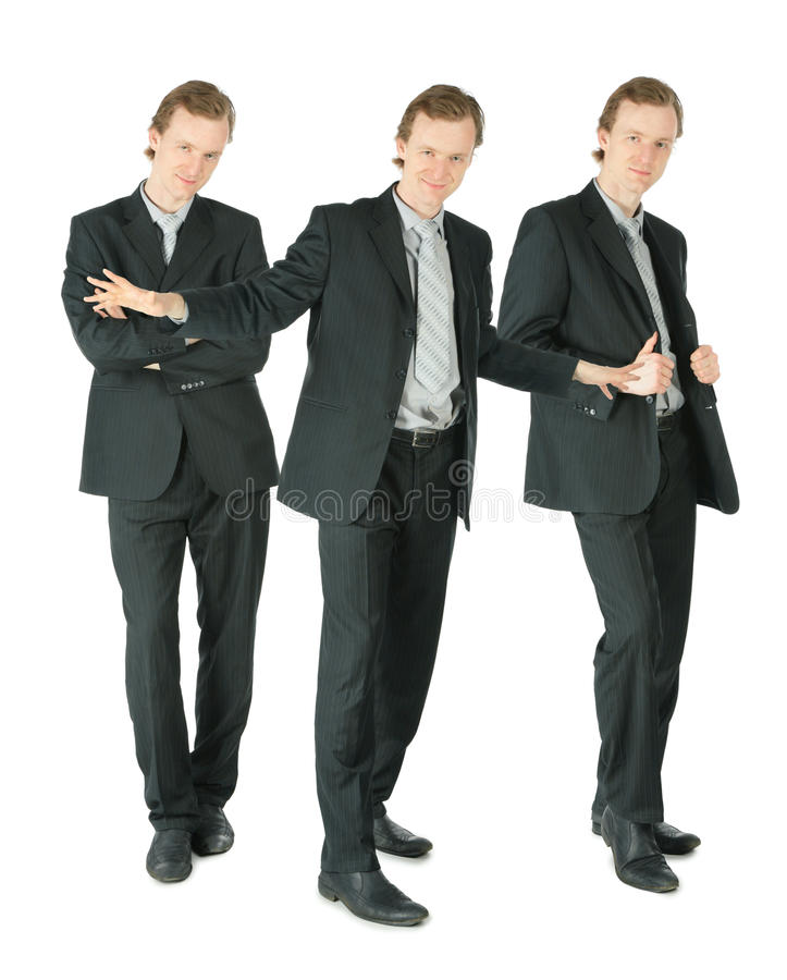 affärsmancollage som plattforer white tre royaltyfria bilder