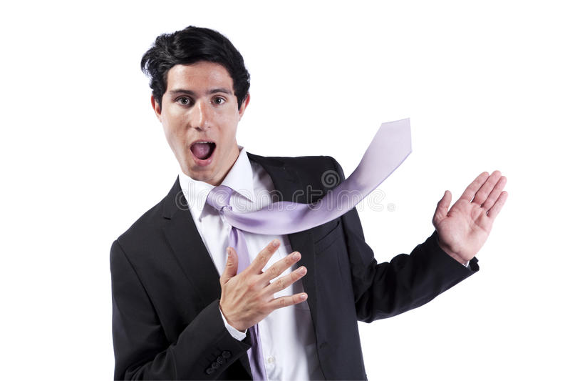 affärsmancopyspace hans slipsuppvisning royaltyfri foto