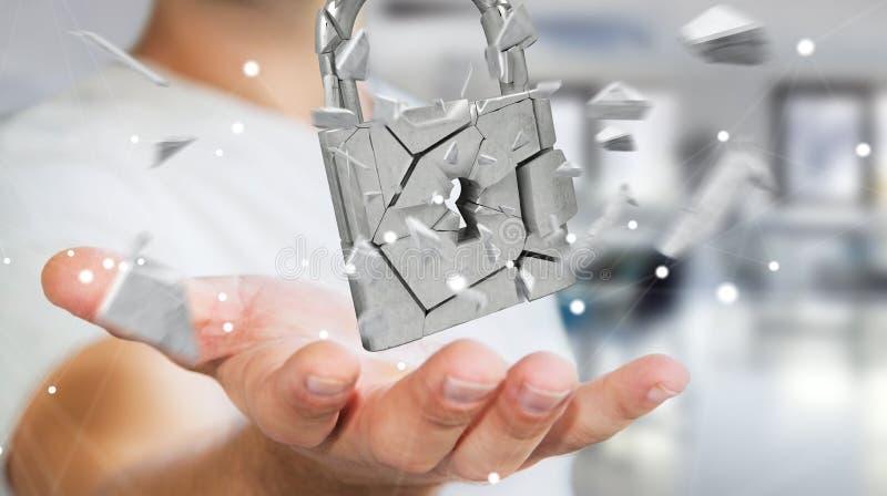 Affärsmandataintrång i bruten tolkning för hänglåssäkerhet 3D royaltyfri illustrationer