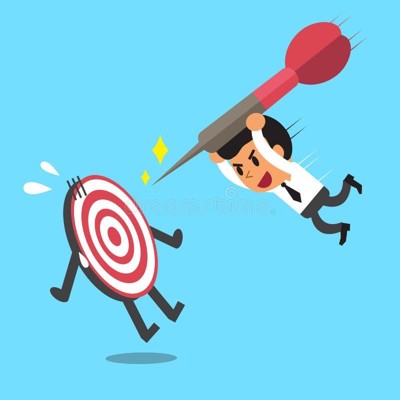 Affärsmanförsök att slå ett mål vektor illustrationer