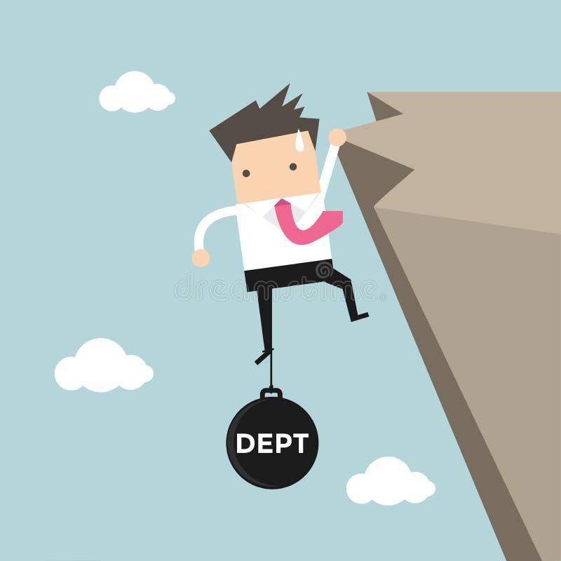 Affärsmanförsök hårt att rymma på klippan med skuldbörda stock illustrationer