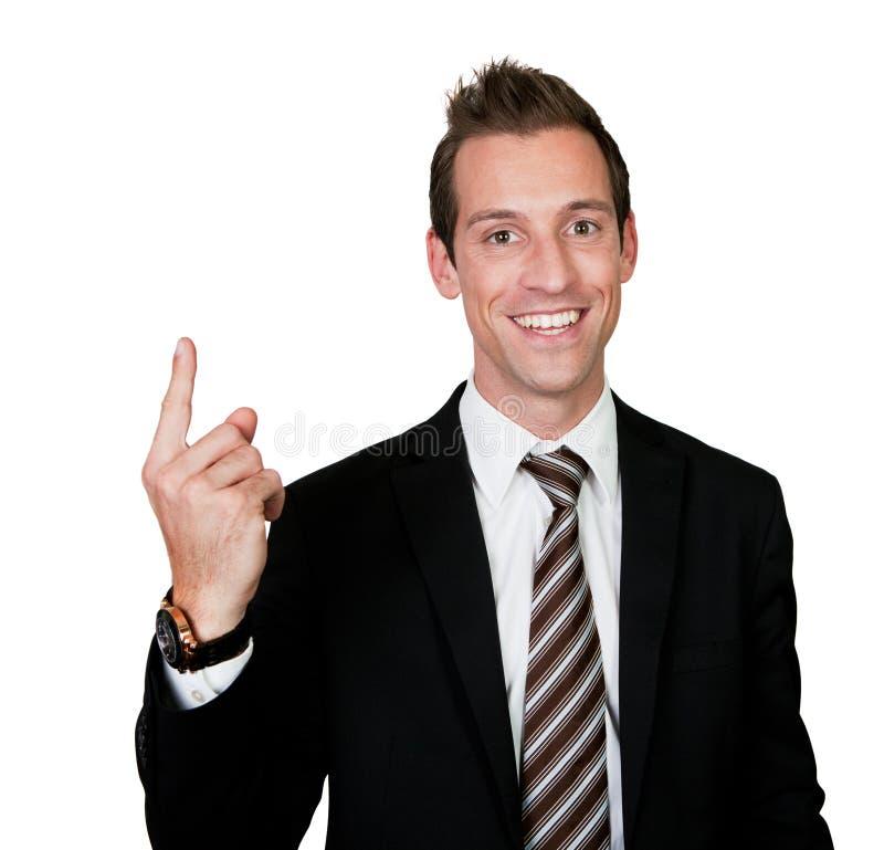 affärsmanfinger som pekar upp arkivbild