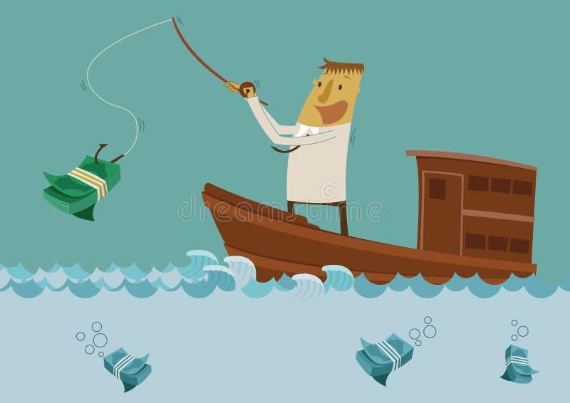 Affärsmanfiske för pengar stock illustrationer