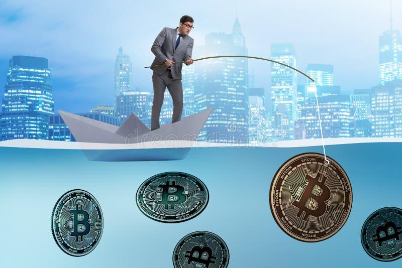 Affärsmanfiskebitcoinsna i cryptocurrencyen som bryter begrepp vektor illustrationer