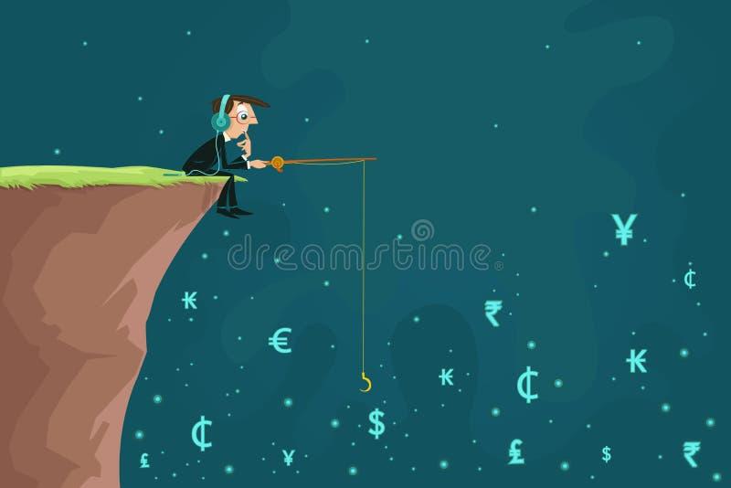 Affärsmanfiskevaluta royaltyfri illustrationer
