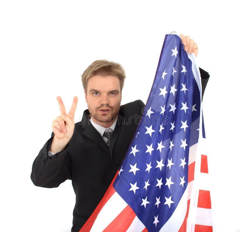 affärsmanflagga USA royaltyfri foto