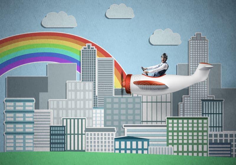 Affärsmanflyg i liten propellernivå royaltyfri illustrationer