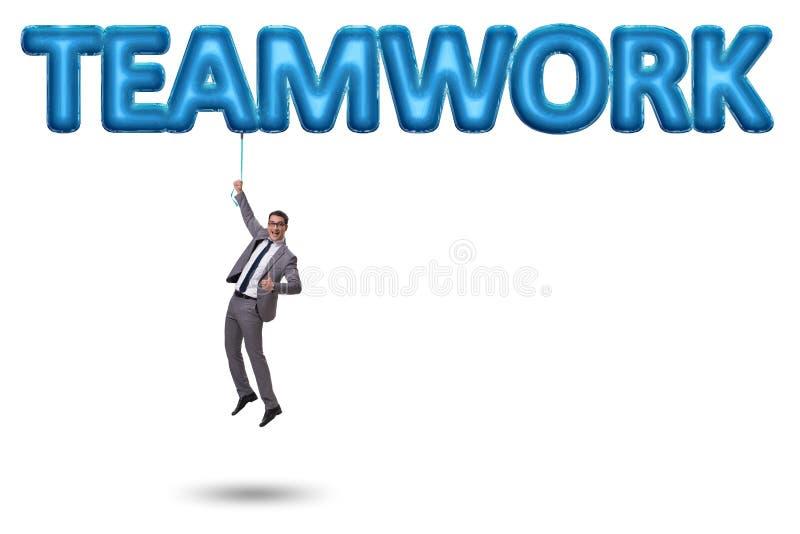 Affärsmanflyget i teamworkbegrepp royaltyfri bild