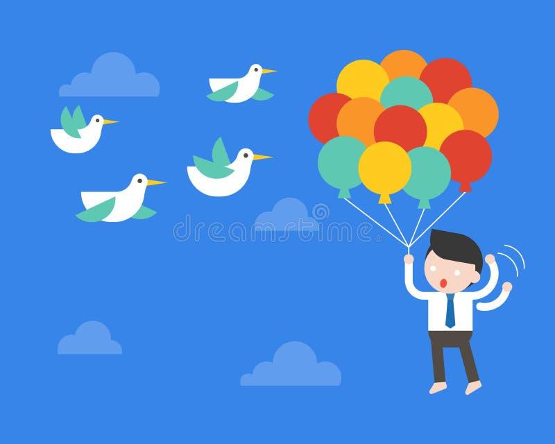 Affärsmanflyget med ballongen i himmel, rädda fåglar petar hans lodisar stock illustrationer