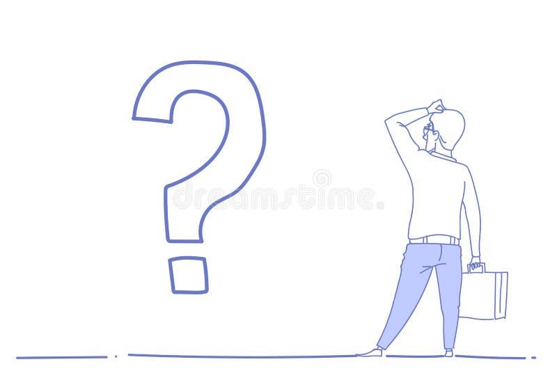 Affärsmanfrågefläcken som grubblar strategi för riktningen för affären för problembegreppet framtida, skissar det horisontalklott vektor illustrationer