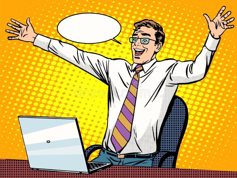 Affärsmanframgång som arbetar på bärbara datorn stock illustrationer