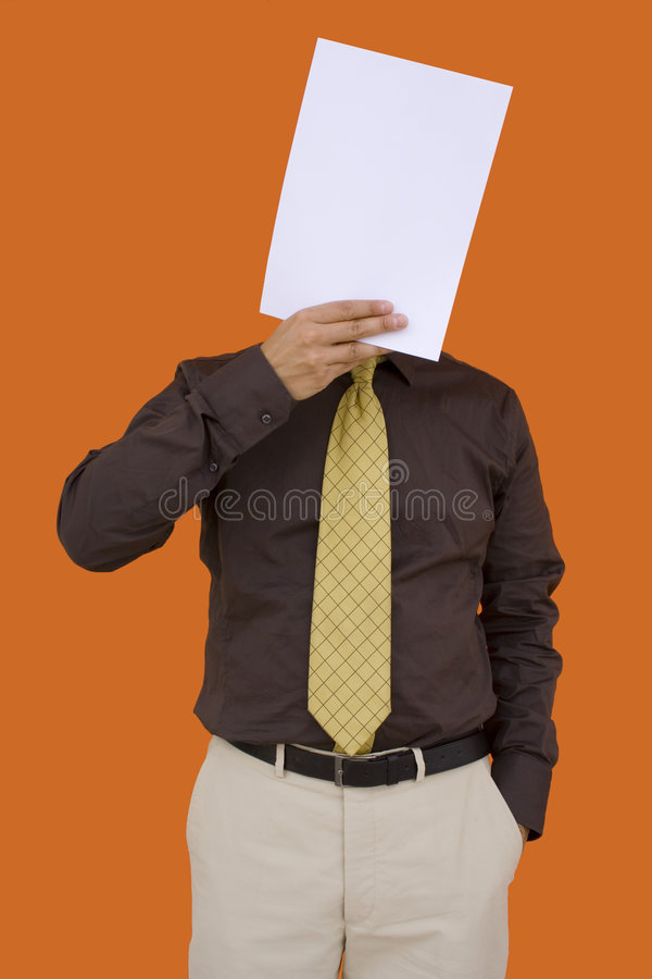 affärsmanframsidapapper royaltyfria foton