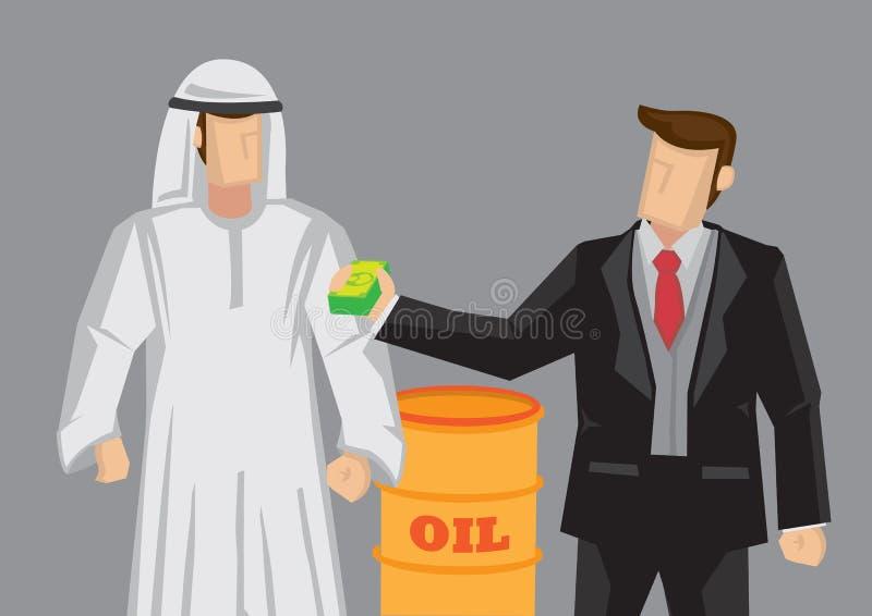 AffärsmanGiving Arab Man pengar för den olje- begreppsmässiga tecknade filmen Vec royaltyfri illustrationer