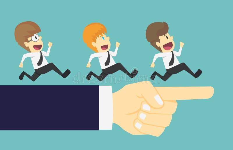 Affärsmangruppspring i den samma riktningen med den stora handen po vektor illustrationer