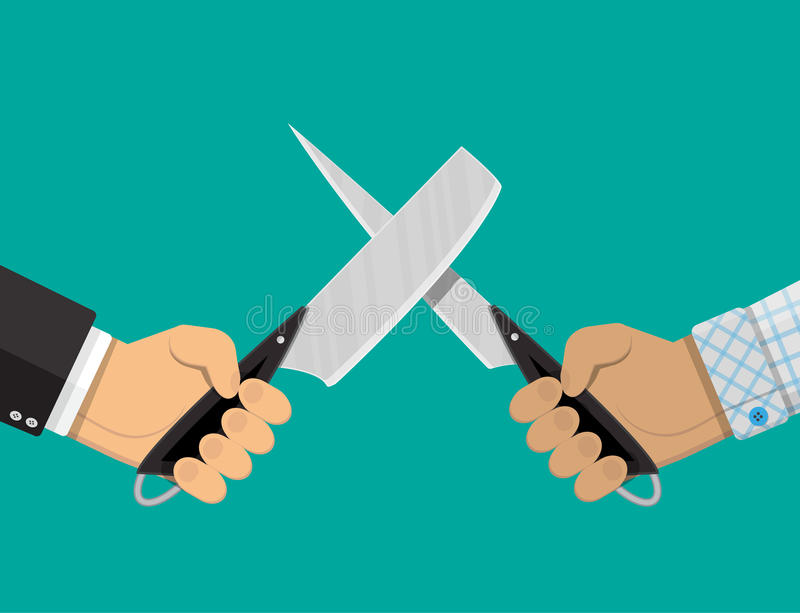 Affärsmanhänder med knivar royaltyfri illustrationer