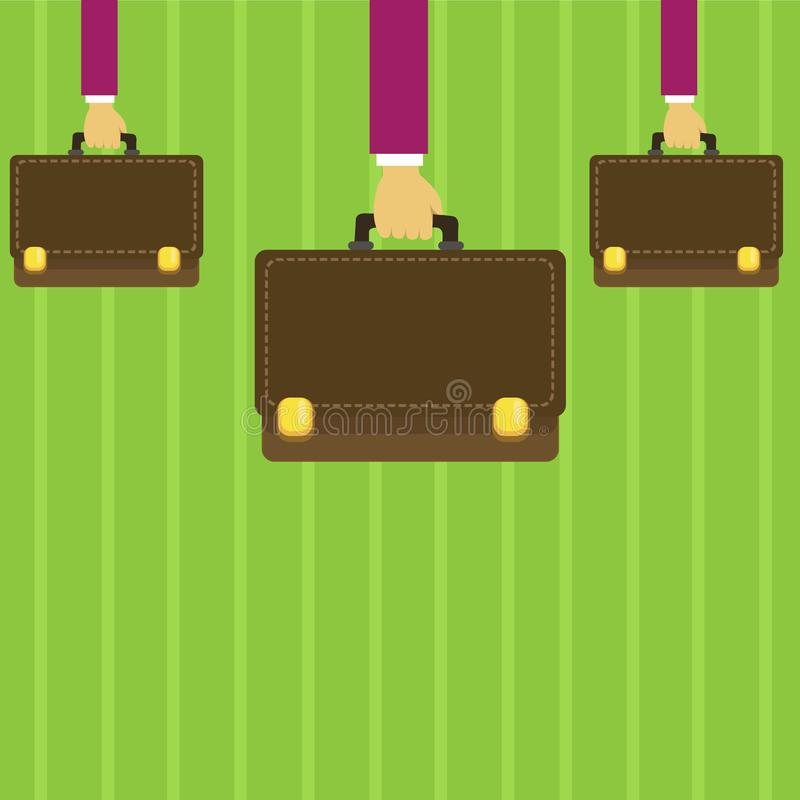 Affärsmanhänder som bär den bruna portföljen med det Appliquehäftklammerstil och låset Portföljer som är handheld vid tre manliga vektor illustrationer