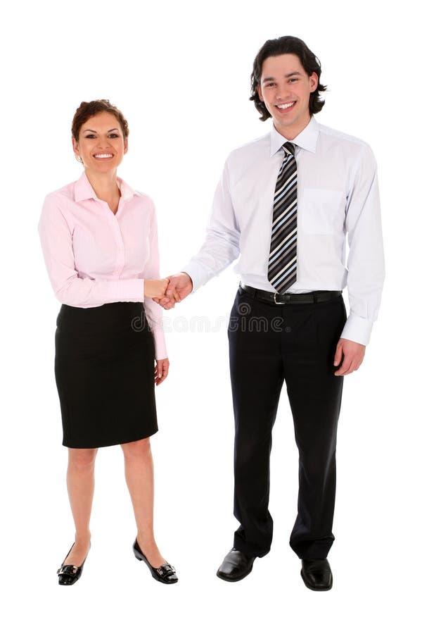 affärsmanhänder som upprör kvinnan royaltyfri bild