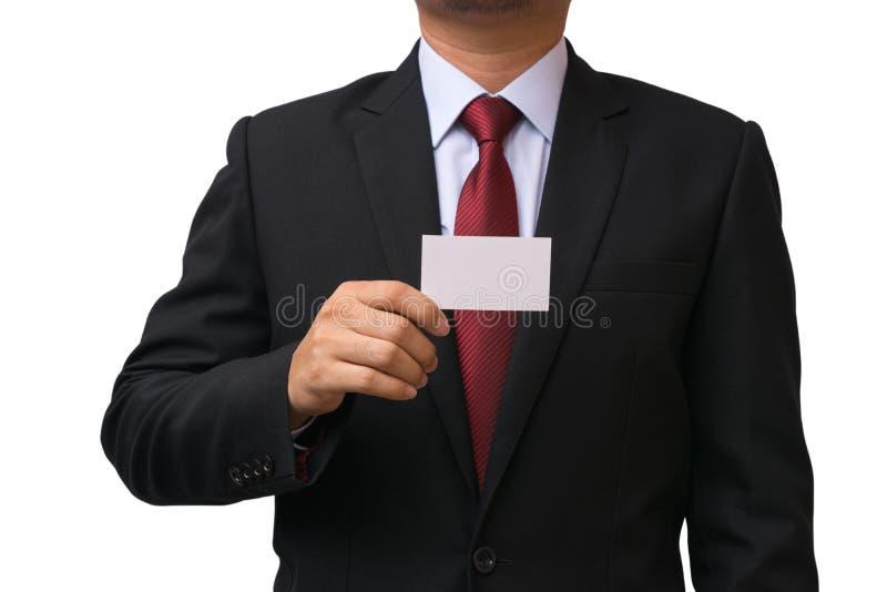 Affärsmanhåll kortet som isoleras på vit bakgrund royaltyfri bild