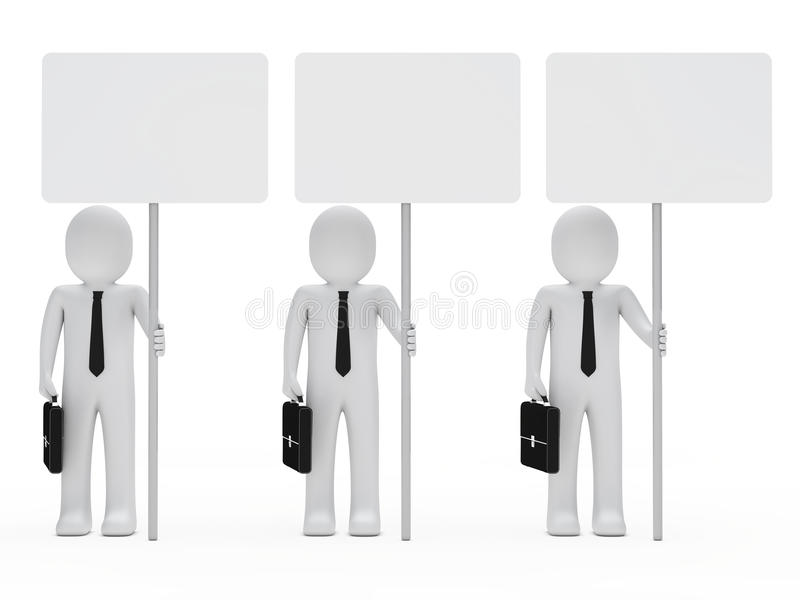 affärsmanhållsignboard stock illustrationer