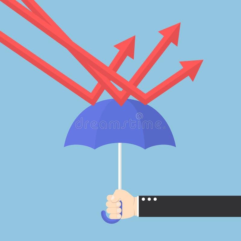 Affärsmanhand genom att använda paraplyet för att skydda downtrendgrafen royaltyfri illustrationer