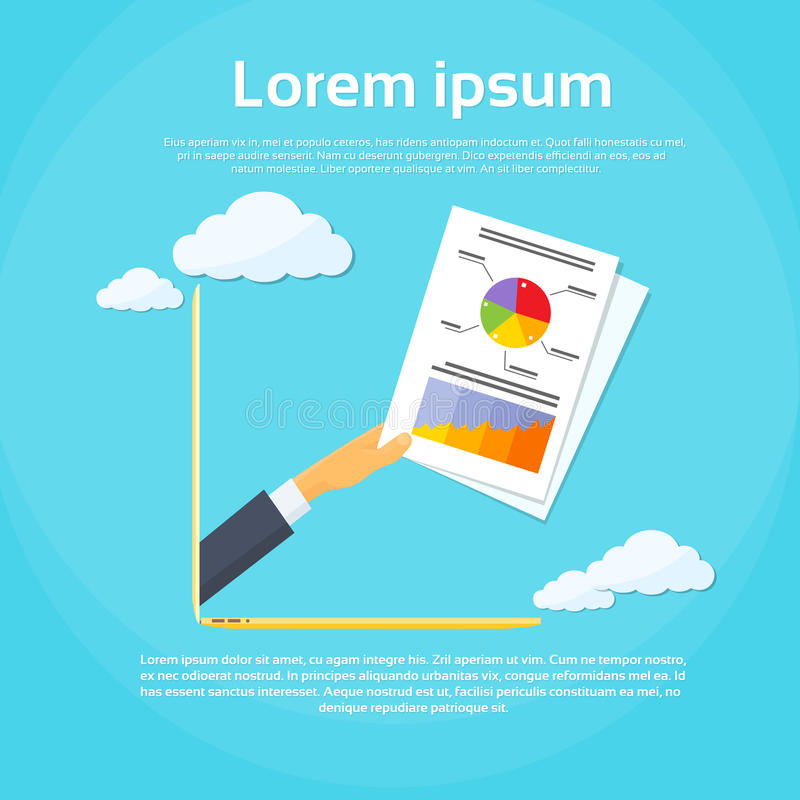 AffärsmanHand Laptop Screen finansiellt papper royaltyfri illustrationer