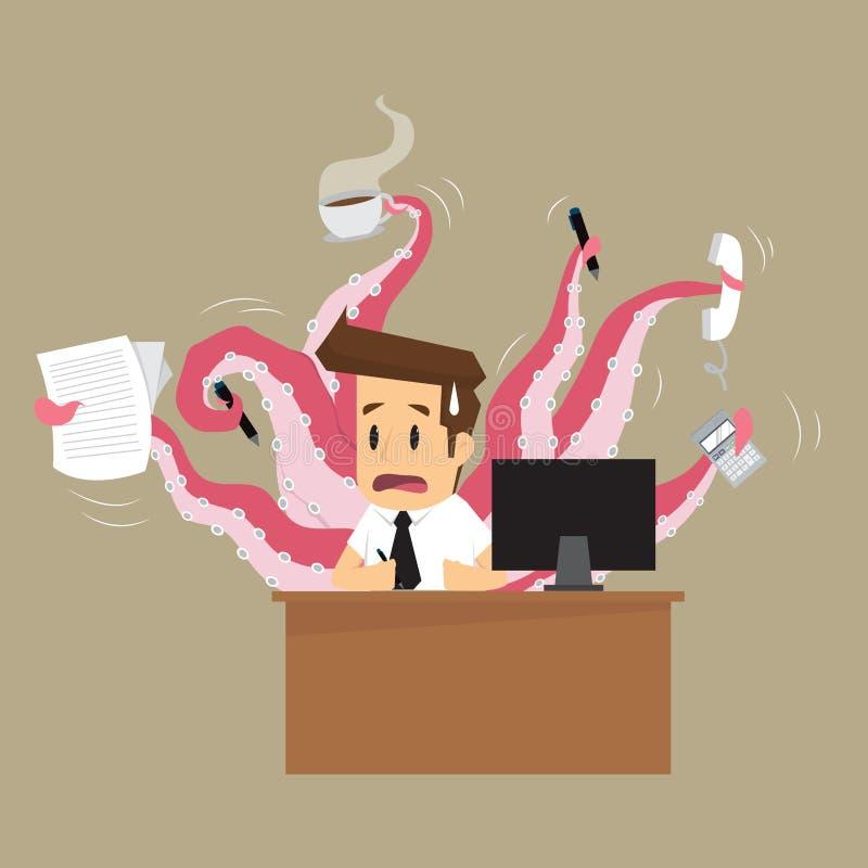 Affärsmanhand på bläckfisken stock illustrationer