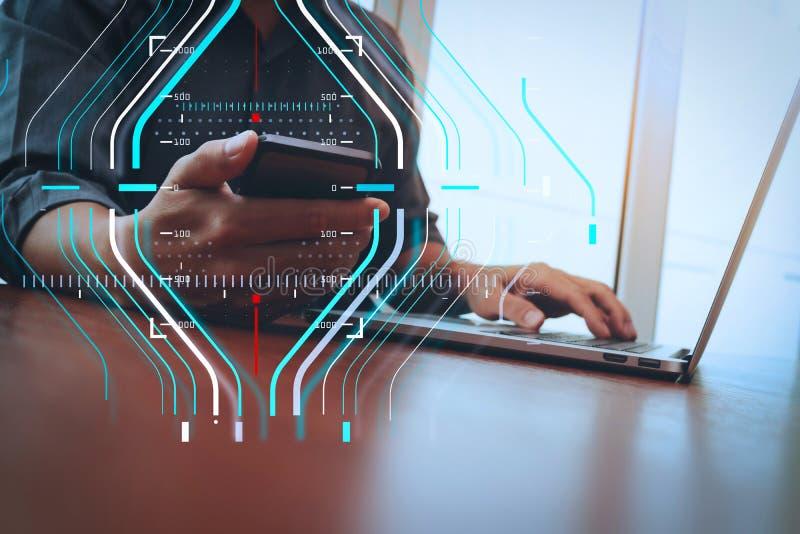 affärsmanhand som arbetar med den smarta telefonen och ny modern compute stock illustrationer